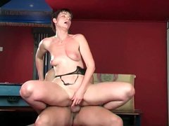 Milf gets sweaty riding cock with passion
