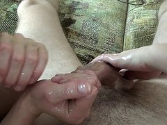 Amateur double oily handjob and ball rub