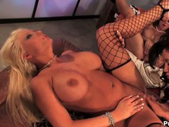 Lesbian blonde Candy Manson with huge tits has fun with