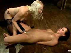 White haired lesbian domina Lorelei Lee plays with new young