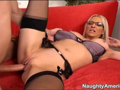 Big boobed spectacled blonde Emma Starr strips down to her