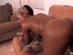 Yummy black babe Miss Simone loves huge meaty cock. She