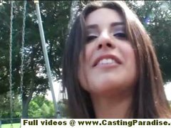 Jynx Maze independent latina solo brunette chick does anal fisting outdoor
