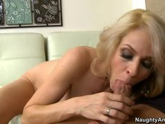 Slutty blonde mom Angela Attison uses her mouth and pussy