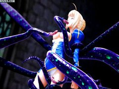 Beautiful animated gets drilled by tentacles