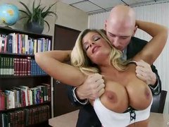 Lonely sex hungry office blonde Kristal Summers uses her flawless