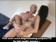 Superb stunning lovely brunette babe with natural tits fucking