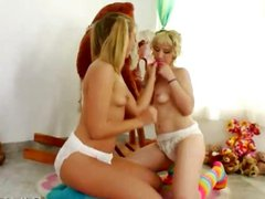 Unique lesb games with diapers