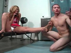 Foot worship with a bossy cheerleader
