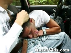 Gay guys sucking cock in car outside