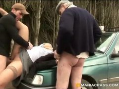 Bitched banged by two guys on hood of car