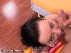 Rough blowjob for cute petite brunette teen