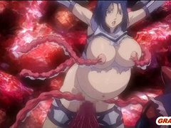 Pregnant hentai coed brutally monster tentacl