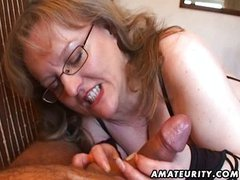 Busty amateur wife handjob and blowjob