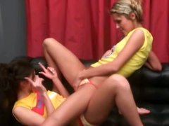 Two sweet girls dancing and strip