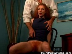Redhead Gets Hairy Pussy Licked and Fingered