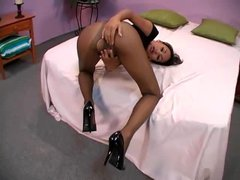 Ripped black pantyhose on Asian taking dick