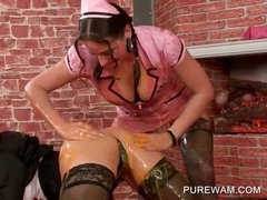 Smoking hot lesbos making out in wet and messy outfit