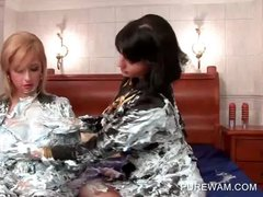 Two gorgeous lesbians getting messy with cream