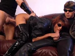 Double fisting and hot leather sex
