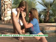 Lina and Danielle busty lesbians figering pussy and kissing
