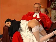 Cardinal and monk have threesome with nun