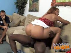 Janet Mason with two black guys