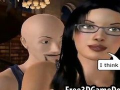 Teen 3d cartoon beauty with black hair and glasses giving head
