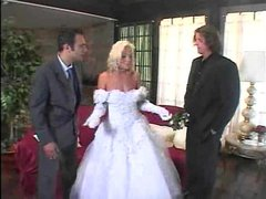 Babe in wedding dressed stripped and double fucked