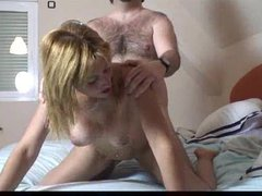 Hairy dude fucking blonde from behind