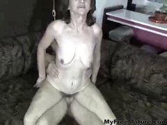 Hairy Saggy Mature Fucks A Young Cock