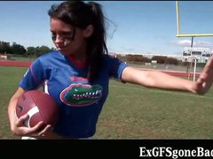 Exciting football player getting filmed