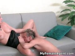 Hot brunette female agent gets her pussy