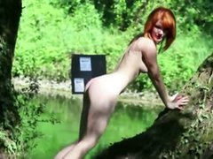 Two beautiful babes pose in outdoors