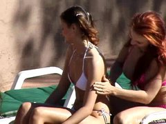 Lesbian anal sex party by the pool