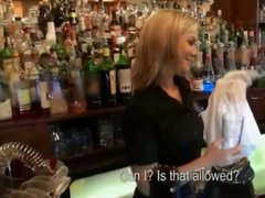 Lovely euro bartender fucked during her work to earn much more cash