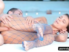 Teen in pantyhose gets fucked by the pool