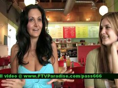 Luna gorgeous brunette babe with her babefriend in a diner