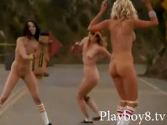 Slutty naked babes tries out skateboarding in the street