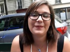 Chubby brunette from street talked into giving head and fucking two dudes