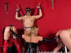 Two tough mistresses administer the pain and dicipline for their slaves