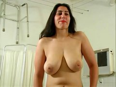 Amateur brunette bitch with saggy tits bounces all over for the camera