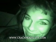 Crackhead nightvision pussy flashing during interview about her life as a ho