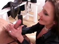 Mistress Magictung gives her tied up slave a blowjob and handjob