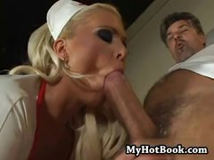 Blonde nurse Kathy Anderson gets toyed and blows and fucks doctor