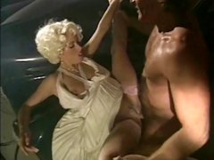 Blonde gets and gives head, gets pounded and then sucks him off