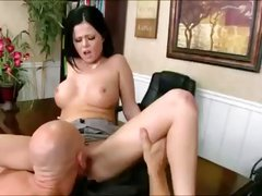 Short-haired brunette secretary with big boobs fucks the client to get the deal