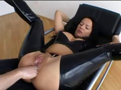 Brunette in latex gets her ass fisted hard and then gets a cock
