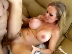 Busty blonde Dyanna Lauren heat tattooes and a neat way of fucking