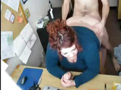 Boss gets his horny BBW secretary to bend over the desk to fuck